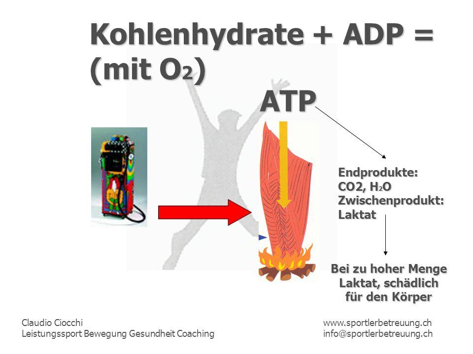 Claudio Ciocchi Leistungssport Bewegung Gesundheit Coaching www.sportlerbetreuung.ch info@sportlerbetreuung.ch Kohlenhydrate + ADP = (mit O 2 ) ATP En