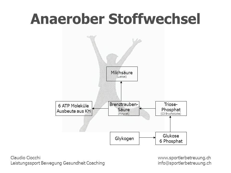 Claudio Ciocchi Leistungssport Bewegung Gesundheit Coaching www.sportlerbetreuung.ch info@sportlerbetreuung.ch Anaerober Stoffwechsel Glykogen Glukose