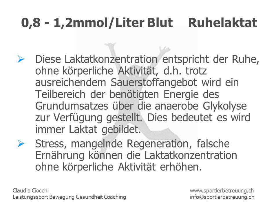 Claudio Ciocchi Leistungssport Bewegung Gesundheit Coaching www.sportlerbetreuung.ch info@sportlerbetreuung.ch 0,8 - 1,2mmol/Liter BlutRuhelaktat Dies