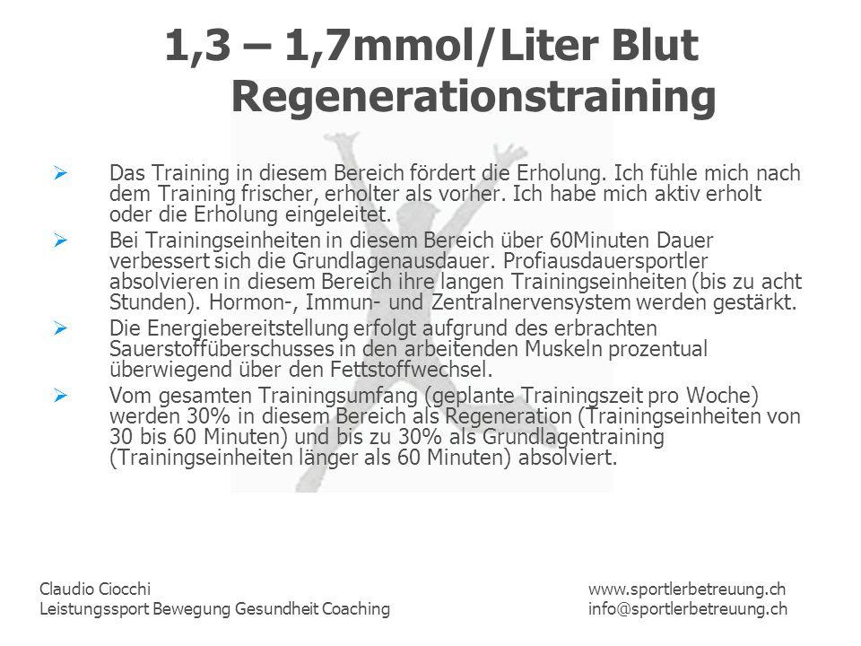 Claudio Ciocchi Leistungssport Bewegung Gesundheit Coaching www.sportlerbetreuung.ch info@sportlerbetreuung.ch 1,3 – 1,7mmol/Liter Blut Regenerationst