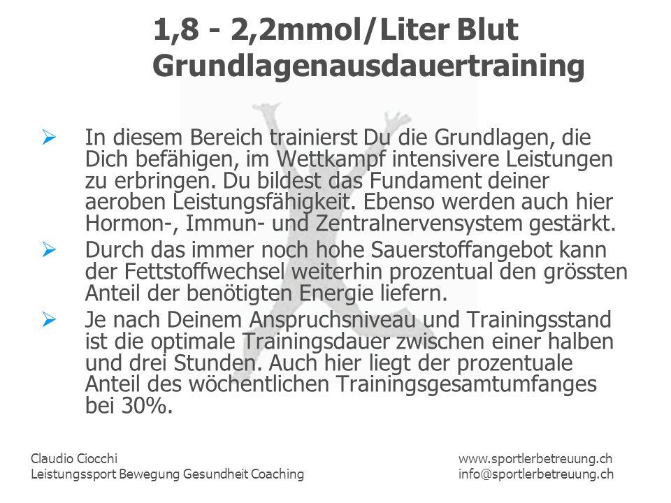 Claudio Ciocchi Leistungssport Bewegung Gesundheit Coaching www.sportlerbetreuung.ch info@sportlerbetreuung.ch 1,8 - 2,2mmol/Liter Blut Grundlagenausd