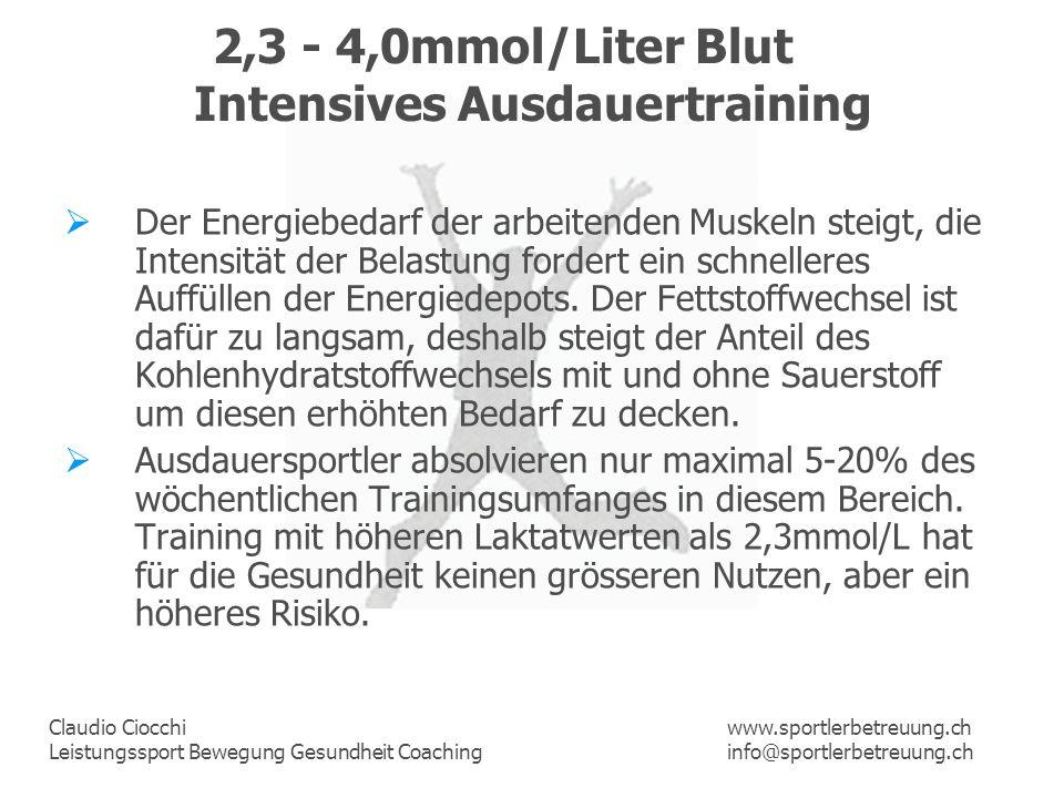 Claudio Ciocchi Leistungssport Bewegung Gesundheit Coaching www.sportlerbetreuung.ch info@sportlerbetreuung.ch 2,3 - 4,0mmol/Liter Blut Intensives Aus
