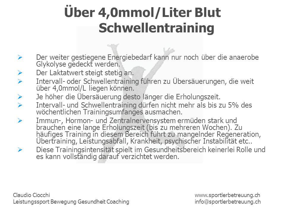 Claudio Ciocchi Leistungssport Bewegung Gesundheit Coaching www.sportlerbetreuung.ch info@sportlerbetreuung.ch Über 4,0mmol/Liter Blut Schwellentraini