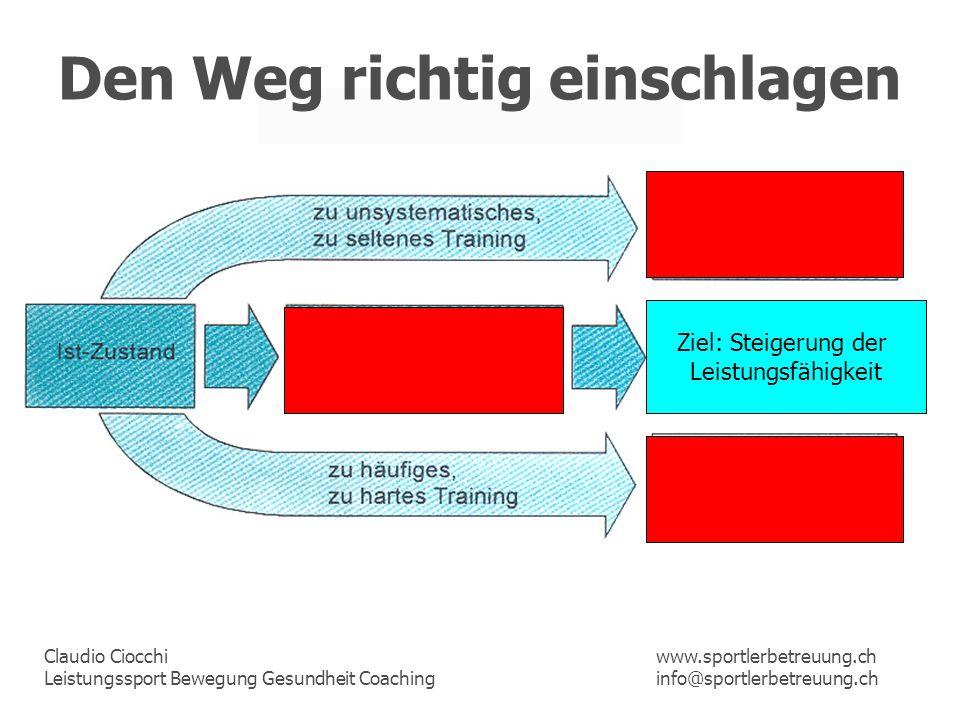 Claudio Ciocchi Leistungssport Bewegung Gesundheit Coaching www.sportlerbetreuung.ch info@sportlerbetreuung.ch Den Weg richtig einschlagen Ziel: Steig