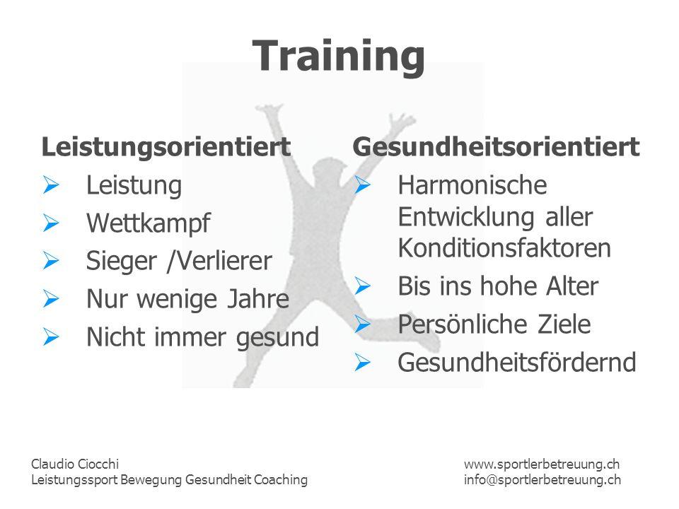 Claudio Ciocchi Leistungssport Bewegung Gesundheit Coaching www.sportlerbetreuung.ch info@sportlerbetreuung.ch Training Leistungsorientiert Leistung W