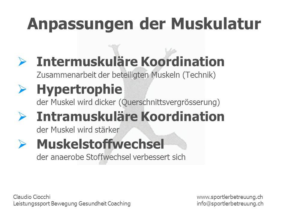 Claudio Ciocchi Leistungssport Bewegung Gesundheit Coaching www.sportlerbetreuung.ch info@sportlerbetreuung.ch Anpassungen der Muskulatur Intermuskulä