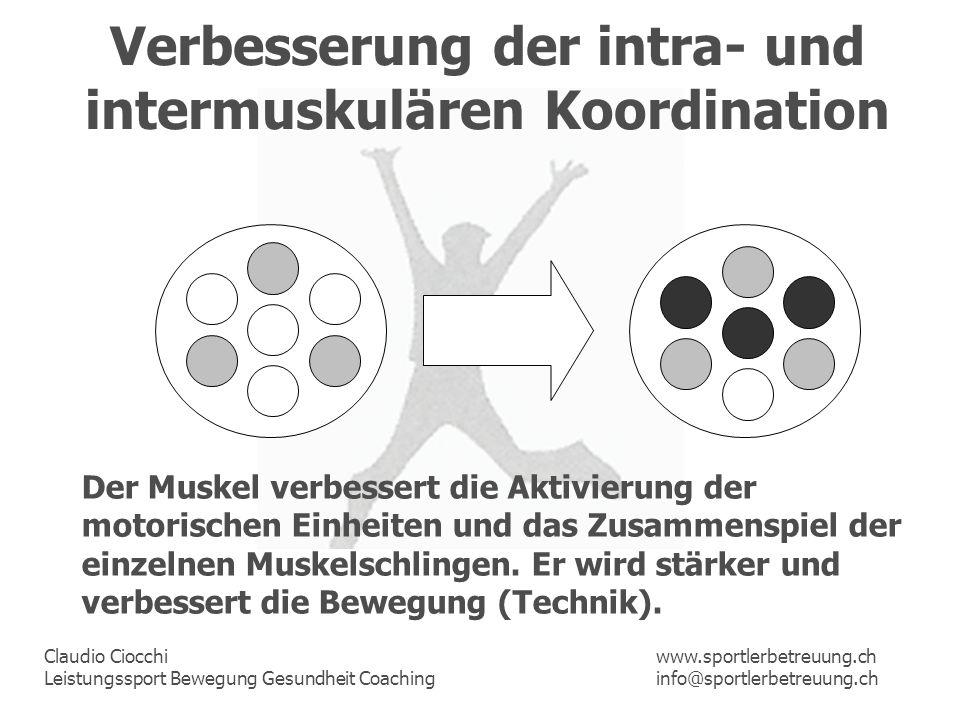 Claudio Ciocchi Leistungssport Bewegung Gesundheit Coaching www.sportlerbetreuung.ch info@sportlerbetreuung.ch Verbesserung der intra- und intermuskul