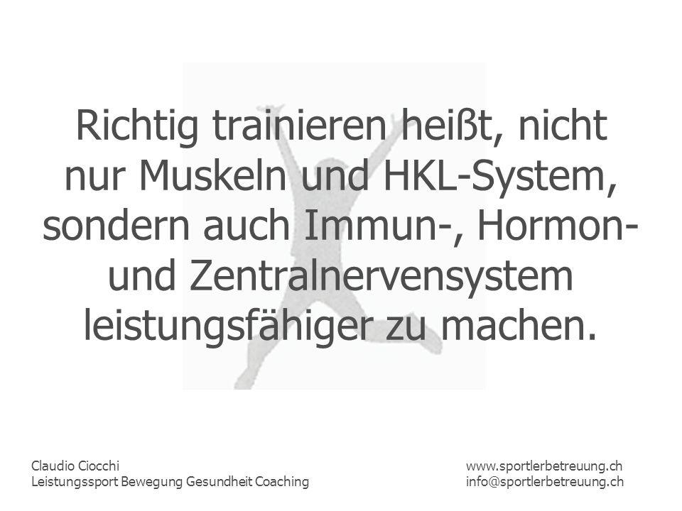 Claudio Ciocchi Leistungssport Bewegung Gesundheit Coaching www.sportlerbetreuung.ch info@sportlerbetreuung.ch Gesünder, leistungsfähiger, motivierter, konzentrierter, frischer und psychisch im Hoch, das ist sicher mehr als je von einem Training in der richtigen Intensität erhofft werden konnte.