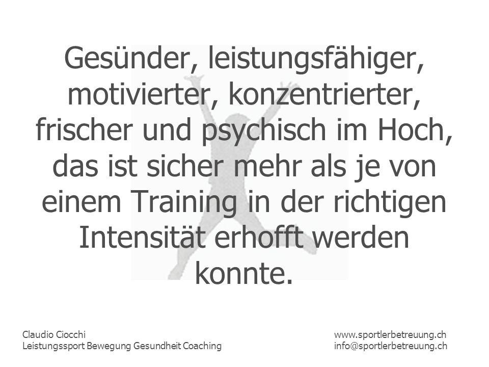 Claudio Ciocchi Leistungssport Bewegung Gesundheit Coaching www.sportlerbetreuung.ch info@sportlerbetreuung.ch 0,8 - 1,2mmol/Liter BlutRuhelaktat Diese Laktatkonzentration entspricht der Ruhe, ohne körperliche Aktivität, d.h.