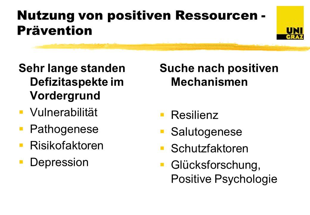 Nutzung von positiven Ressourcen - Prävention Sehr lange standen Defizitaspekte im Vordergrund Vulnerabilität Pathogenese Risikofaktoren Depression Suche nach positiven Mechanismen Resilienz Salutogenese Schutzfaktoren Glücksforschung, Positive Psychologie