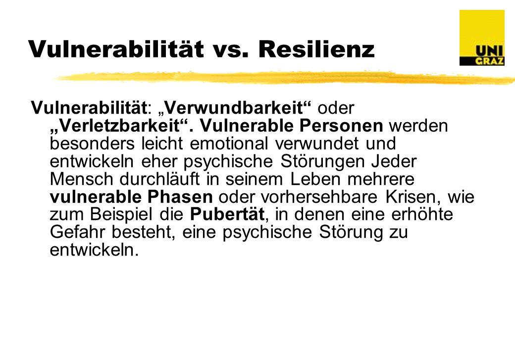Vulnerabilität vs.Resilienz Vulnerabilität: Verwundbarkeit oder Verletzbarkeit.