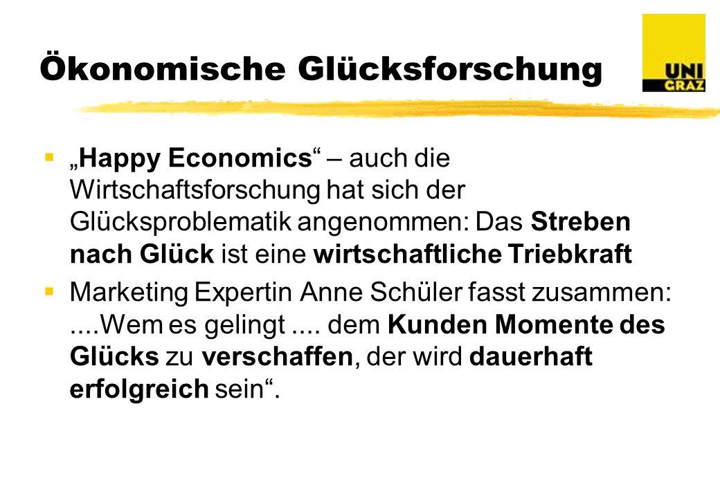 Ökonomische Glücksforschung Happy Economics – auch die Wirtschaftsforschung hat sich der Glücksproblematik angenommen: Das Streben nach Glück ist eine wirtschaftliche Triebkraft Marketing Expertin Anne Schüler fasst zusammen:....Wem es gelingt....