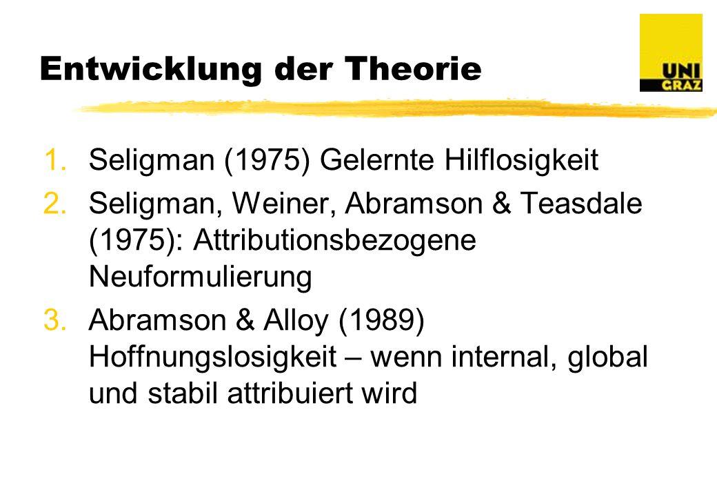 Entwicklung der Theorie 1.Seligman (1975) Gelernte Hilflosigkeit 2.Seligman, Weiner, Abramson & Teasdale (1975): Attributionsbezogene Neuformulierung 3.Abramson & Alloy (1989) Hoffnungslosigkeit – wenn internal, global und stabil attribuiert wird