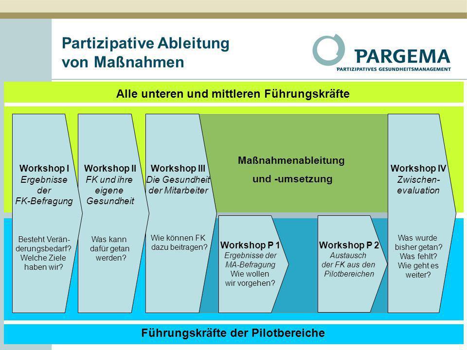 5 Alle unteren und mittleren Führungskräfte Führungskräfte der Pilotbereiche Maßnahmenableitung und -umsetzung Partizipative Ableitung von Maßnahmen W