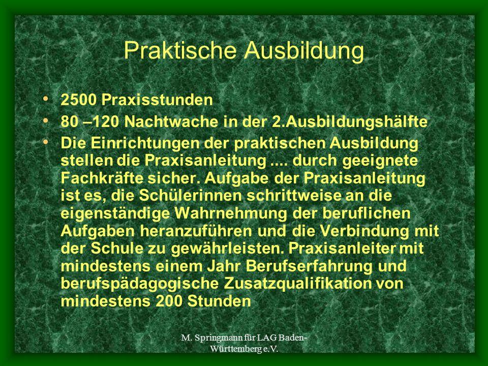 M. Springmann für LAG Baden- Württemberg e.V. Praktische Ausbildung 2500 Praxisstunden 80 –120 Nachtwache in der 2.Ausbildungshälfte Die Einrichtungen
