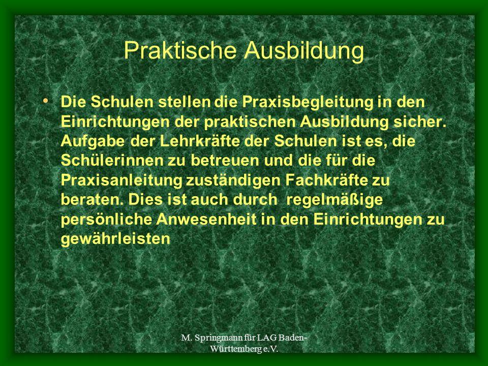M. Springmann für LAG Baden- Württemberg e.V. Praktische Ausbildung Die Schulen stellen die Praxisbegleitung in den Einrichtungen der praktischen Ausb