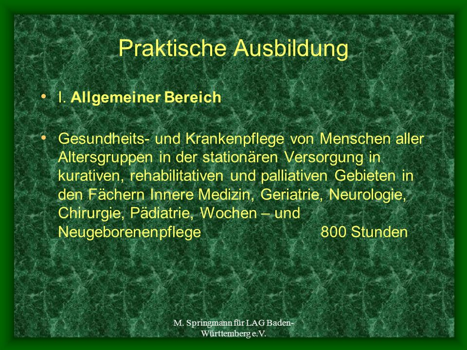 M. Springmann für LAG Baden- Württemberg e.V. Praktische Ausbildung I. Allgemeiner Bereich Gesundheits- und Krankenpflege von Menschen aller Altersgru
