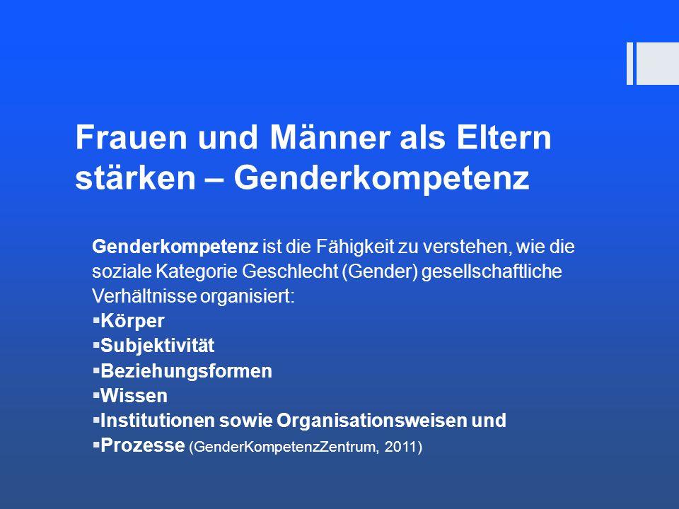 Frauen und Männer als Eltern stärken – Genderkompetenz Genderkompetenz ist die Fähigkeit zu verstehen, wie die soziale Kategorie Geschlecht (Gender) g