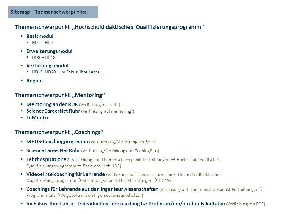 Sitemap – Themenschwerpunkte Themenschwerpunkt Hochschuldidaktisches Qualifizierungsprogramm Basismodul HD1 – HD7 Erweiterungsmodul HD8 – HD18 Vertiefungsmodul HD19, HD20 + Im Fokus: Ihre Lehre… Regeln Themenschwerpunkt Mentoring Mentoring an der RUB (Verlinkung auf Seite) ScienceCareerNet Ruhr (Verlinkung auf mentoring³) LeMento Themenschwerpunkt Coachings METIS-Coachingprogramm (Verankerung/Verlinkung der Seite) ScienceCareerNet Ruhr (Verlinkung/Verlinkung auf CochingPlus) Lehrhospitationen (Verlinkung auf Themenschwerpunkt Fortbildungen Hochschuldidaktisches Qualifizierungsprogramm Basismodul HD6) Videoeinzelcoaching für Lehrende (Verlinkung auf Themenschwerpunkt Hochschuldidaktisches Qualifizierungsprogramm Vertiefungsmodul/Einzelberatungen HD19) Coachings für Lehrende aus den Ingenieurwissenschaften (Verlinkung auf Themenschwerpunkt Fortbildungen Programmheft Angebote in den Ingenieurwissenschaften) Im Fokus: Ihre Lehre – Individuelles Lehrcoaching für Professor/inn/en aller Fakultäten (Verlinkung mit PDF)
