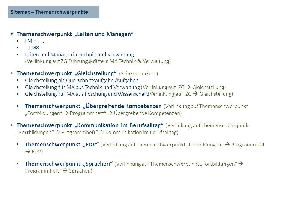 Sitemap – Themenschwerpunkte Themenschwerpunkt Leiten und Managen LM 1 – … …LM8 Leiten und Managen in Technik und Verwaltung (Verlinkung auf ZG Führun
