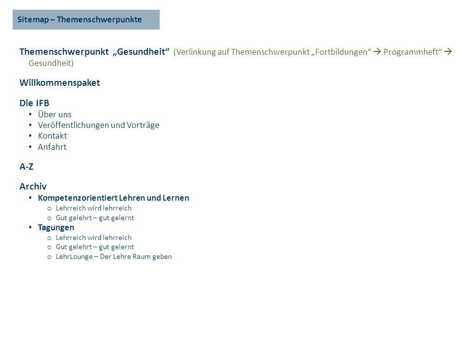 Sitemap – Themenschwerpunkte Themenschwerpunkt Gesundheit (Verlinkung auf Themenschwerpunkt Fortbildungen Programmheft Gesundheit) Willkommenspaket Di