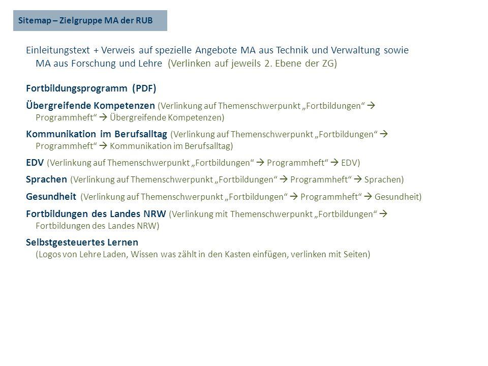 Sitemap – Zielgruppe MA der RUB Einleitungstext + Verweis auf spezielle Angebote MA aus Technik und Verwaltung sowie MA aus Forschung und Lehre (Verlinken auf jeweils 2.