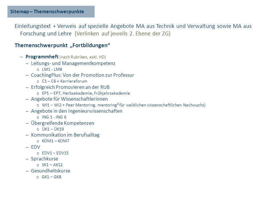 Sitemap – Themenschwerpunkte Einleitungstext + Verweis auf spezielle Angebote MA aus Technik und Verwaltung sowie MA aus Forschung und Lehre (Verlinken auf jeweils 2.