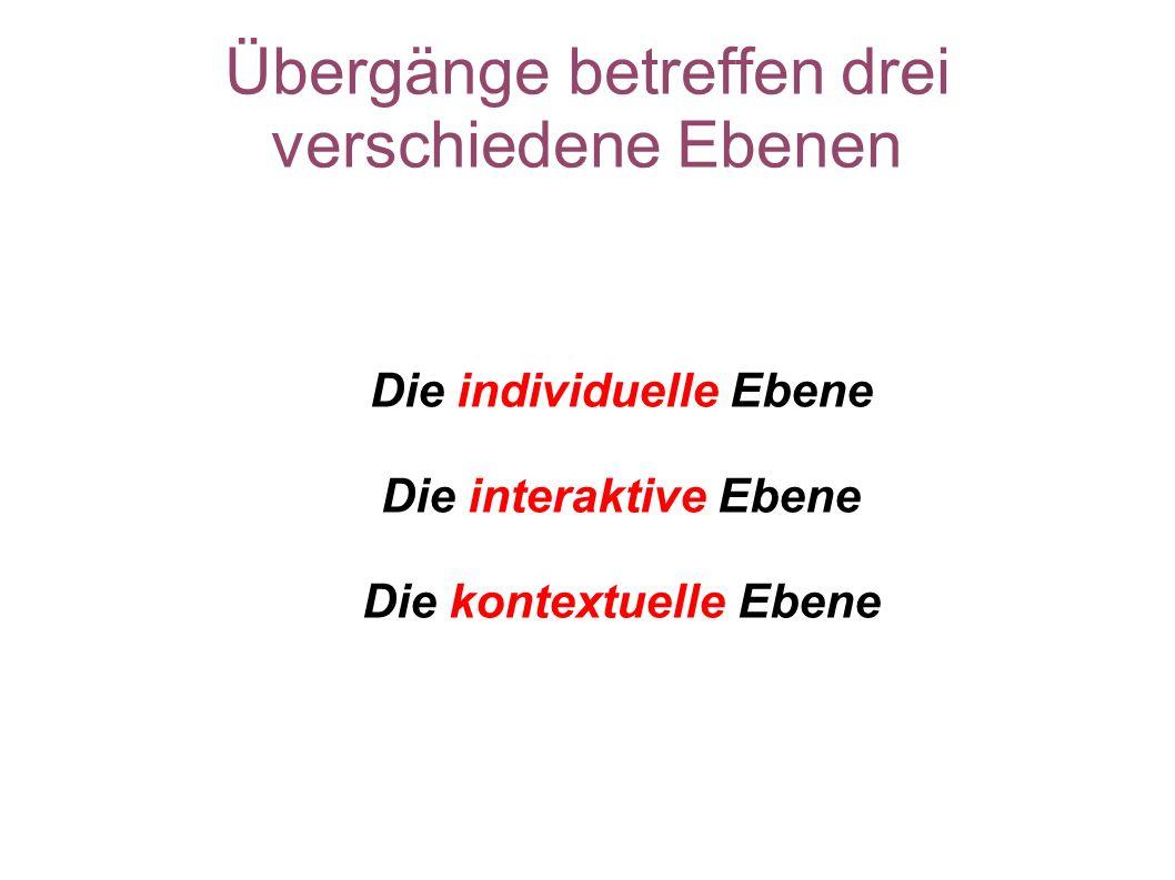 Übergänge betreffen drei verschiedene Ebenen Die individuelle Ebene Die interaktive Ebene Die kontextuelle Ebene