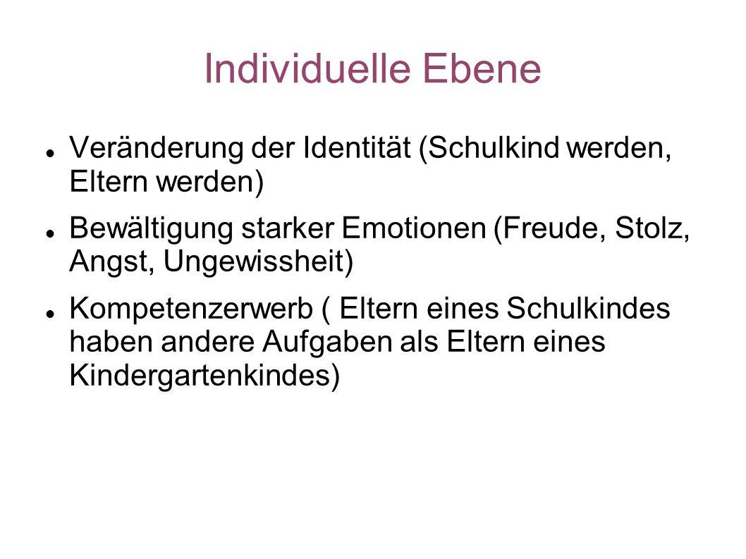 Individuelle Ebene Veränderung der Identität (Schulkind werden, Eltern werden) Bewältigung starker Emotionen (Freude, Stolz, Angst, Ungewissheit) Komp