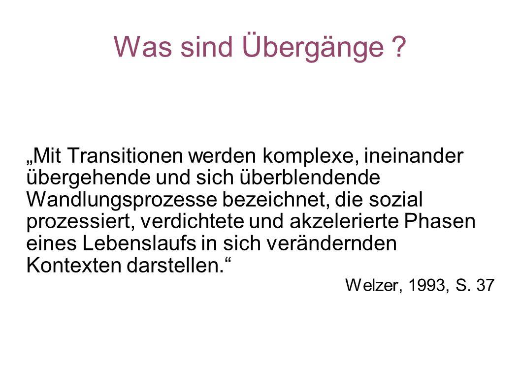 Was sind Übergänge ? Mit Transitionen werden komplexe, ineinander übergehende und sich überblendende Wandlungsprozesse bezeichnet, die sozial prozessi