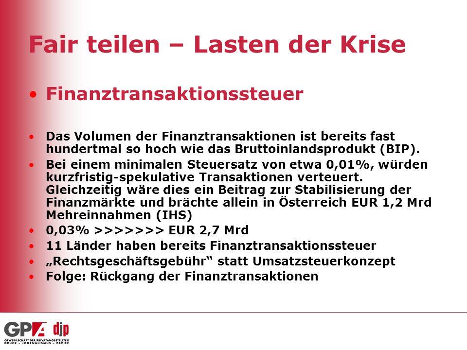 Fair teilen – Lasten der Krise Finanztransaktionssteuer Das Volumen der Finanztransaktionen ist bereits fast hundertmal so hoch wie das Bruttoinlandsprodukt (BIP).
