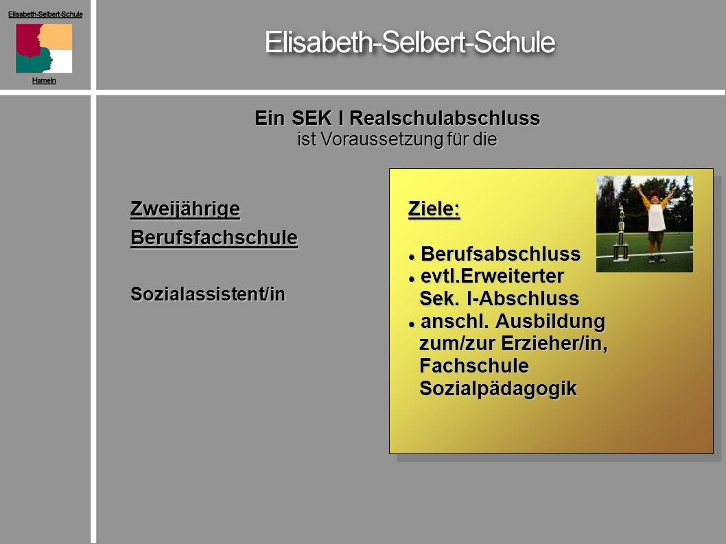 ZweijährigeBerufsfachschuleSozialassistent/in Ein SEK I Realschulabschluss ist Voraussetzung für die Ziele: Berufsabschluss Berufsabschluss evtl.Erweiterter evtl.Erweiterter Sek.