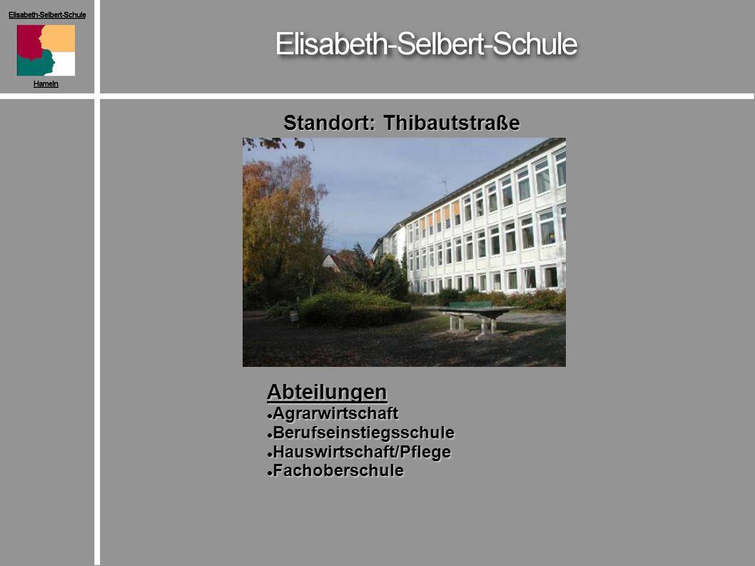 Standort: Thibautstraße Abteilungen Agrarwirtschaft Agrarwirtschaft Berufseinstiegsschule Berufseinstiegsschule Hauswirtschaft/Pflege Hauswirtschaft/Pflege Fachoberschule Fachoberschule