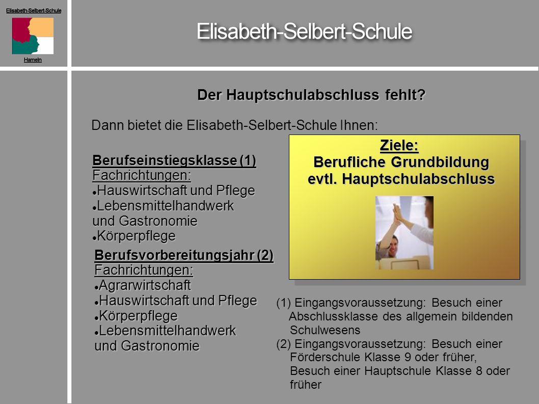 Der Hauptschulabschluss fehlt? Dann bietet die Elisabeth-Selbert-Schule Ihnen: Ziele: Berufliche Grundbildung Berufliche Grundbildung evtl. Hauptschul