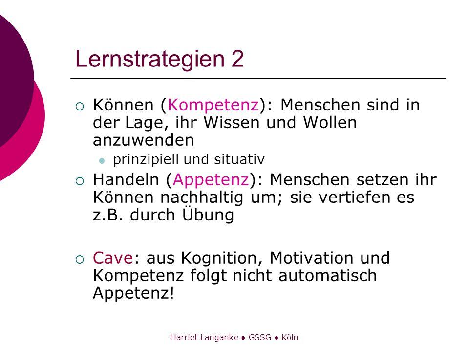 Harriet Langanke GSSG Köln Lernstrategien 2 Können (Kompetenz): Menschen sind in der Lage, ihr Wissen und Wollen anzuwenden prinzipiell und situativ H