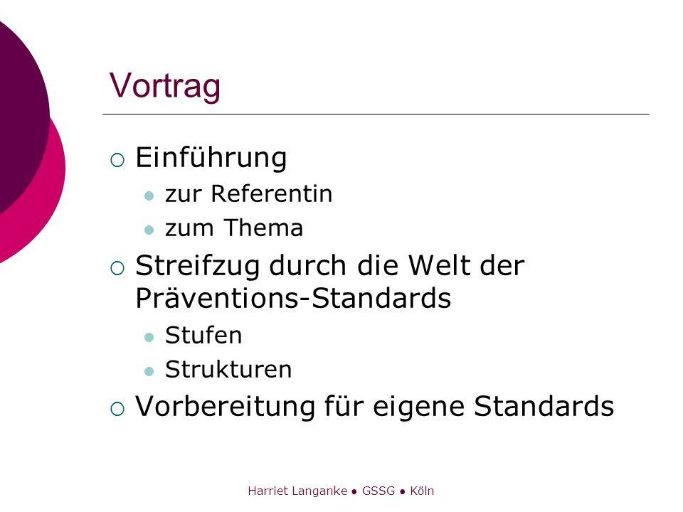 Harriet Langanke GSSG Köln Vortrag Einführung zur Referentin zum Thema Streifzug durch die Welt der Präventions-Standards Stufen Strukturen Vorbereitu