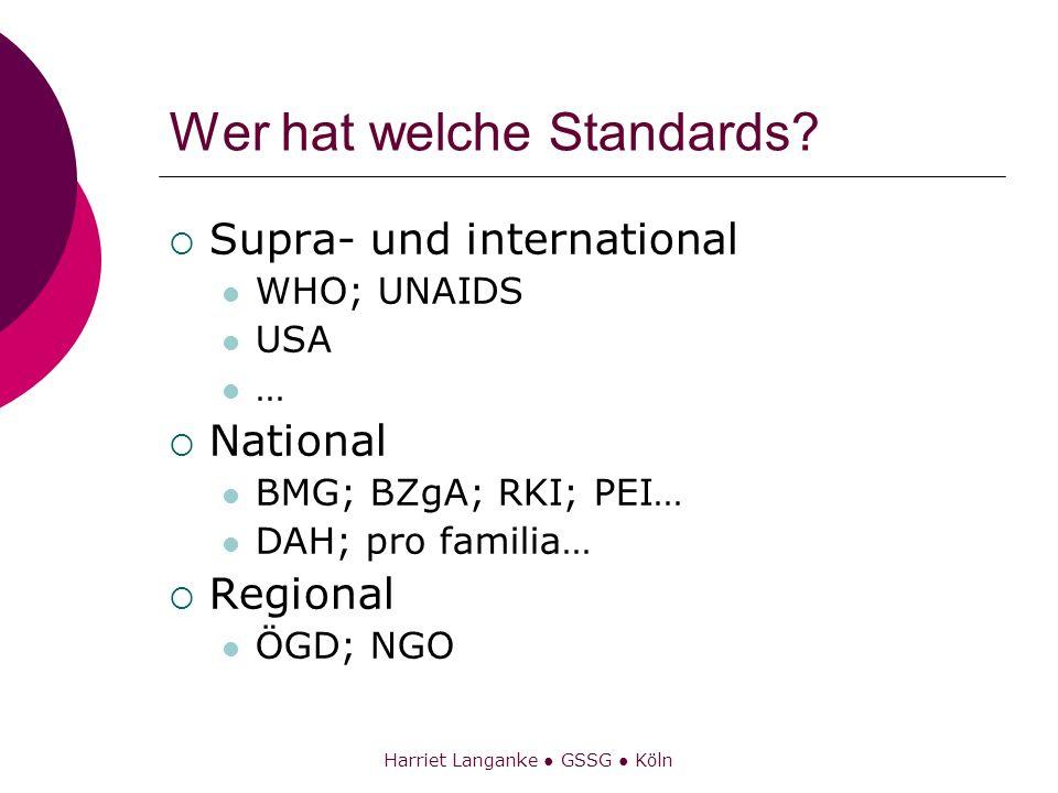 Harriet Langanke GSSG Köln Wer hat welche Standards? Supra- und international WHO; UNAIDS USA … National BMG; BZgA; RKI; PEI… DAH; pro familia… Region