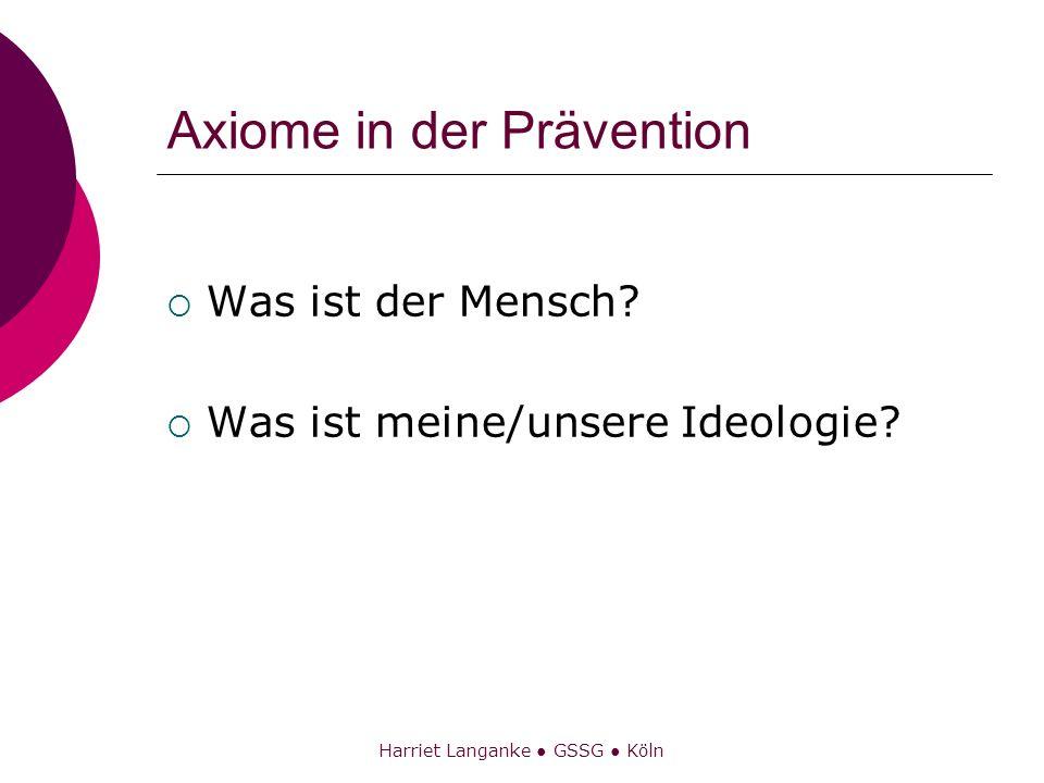 Harriet Langanke GSSG Köln Axiome in der Prävention Was ist der Mensch? Was ist meine/unsere Ideologie?