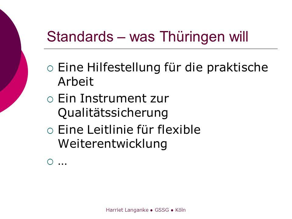 Harriet Langanke GSSG Köln Standards – was Thüringen will Eine Hilfestellung für die praktische Arbeit Ein Instrument zur Qualitätssicherung Eine Leit