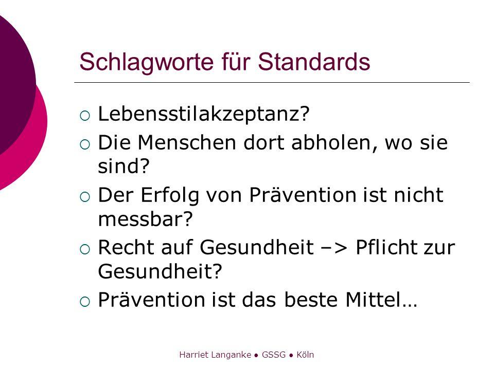 Harriet Langanke GSSG Köln Schlagworte für Standards Lebensstilakzeptanz? Die Menschen dort abholen, wo sie sind? Der Erfolg von Prävention ist nicht