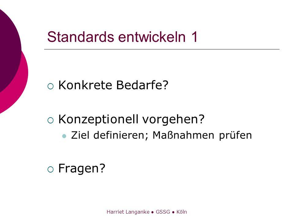 Harriet Langanke GSSG Köln Standards entwickeln 1 Konkrete Bedarfe? Konzeptionell vorgehen? Ziel definieren; Maßnahmen prüfen Fragen?