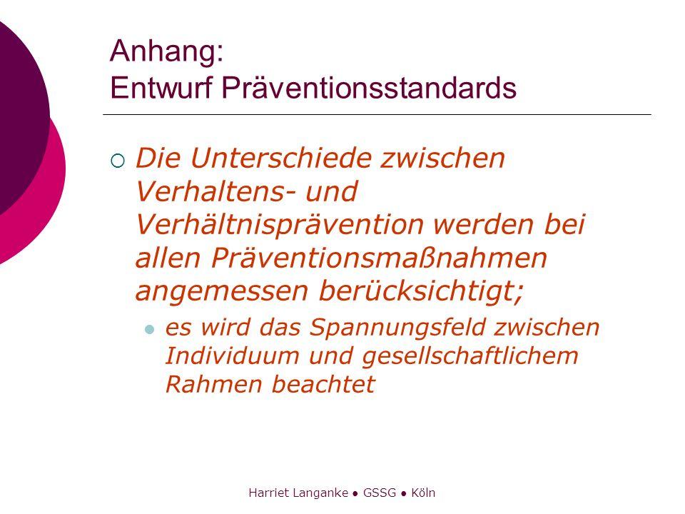 Harriet Langanke GSSG Köln Anhang: Entwurf Präventionsstandards Die Unterschiede zwischen Verhaltens- und Verhältnisprävention werden bei allen Präven