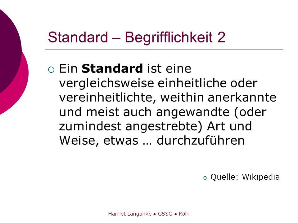 Harriet Langanke GSSG Köln Standard – Begrifflichkeit 3 Der Begriff [Standard ist] … üblich … beispielsweise in Bezug auf Technik und Methodik, aber auch auf Menschenrechte oder Umweltschutz.