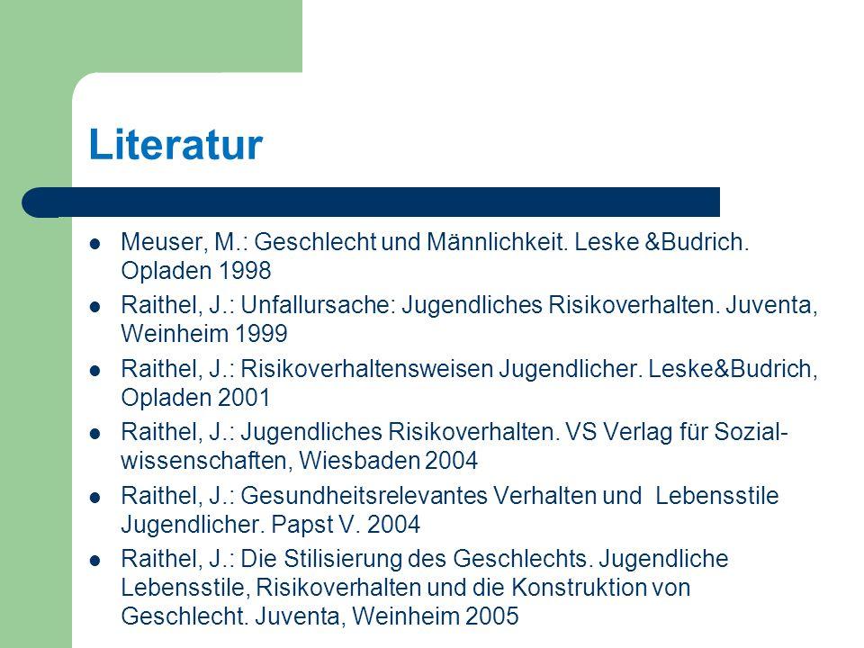 Literatur Meuser, M.: Geschlecht und Männlichkeit.