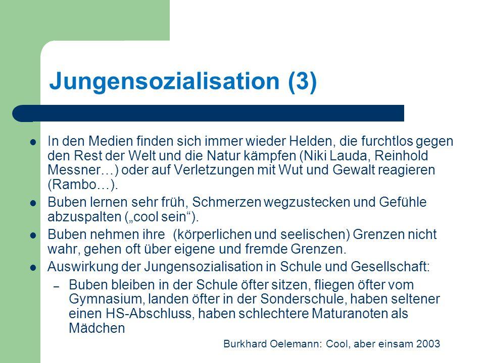 Jungensozialisation (3) In den Medien finden sich immer wieder Helden, die furchtlos gegen den Rest der Welt und die Natur kämpfen (Niki Lauda, Reinhold Messner…) oder auf Verletzungen mit Wut und Gewalt reagieren (Rambo…).