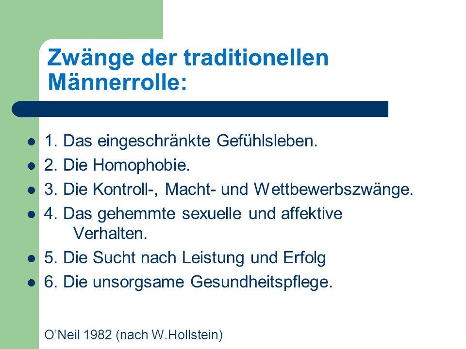 Zwänge der traditionellen Männerrolle: 1.Das eingeschränkte Gefühlsleben.