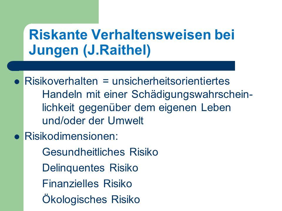 Riskante Verhaltensweisen bei Jungen (J.Raithel) Risikoverhalten = unsicherheitsorientiertes Handeln mit einer Schädigungswahrschein- lichkeit gegenüber dem eigenen Leben und/oder der Umwelt Risikodimensionen: Gesundheitliches Risiko Delinquentes Risiko Finanzielles Risiko Ökologisches Risiko Jürgen Raithel: Jugendliches Risikoverhalten, 2004