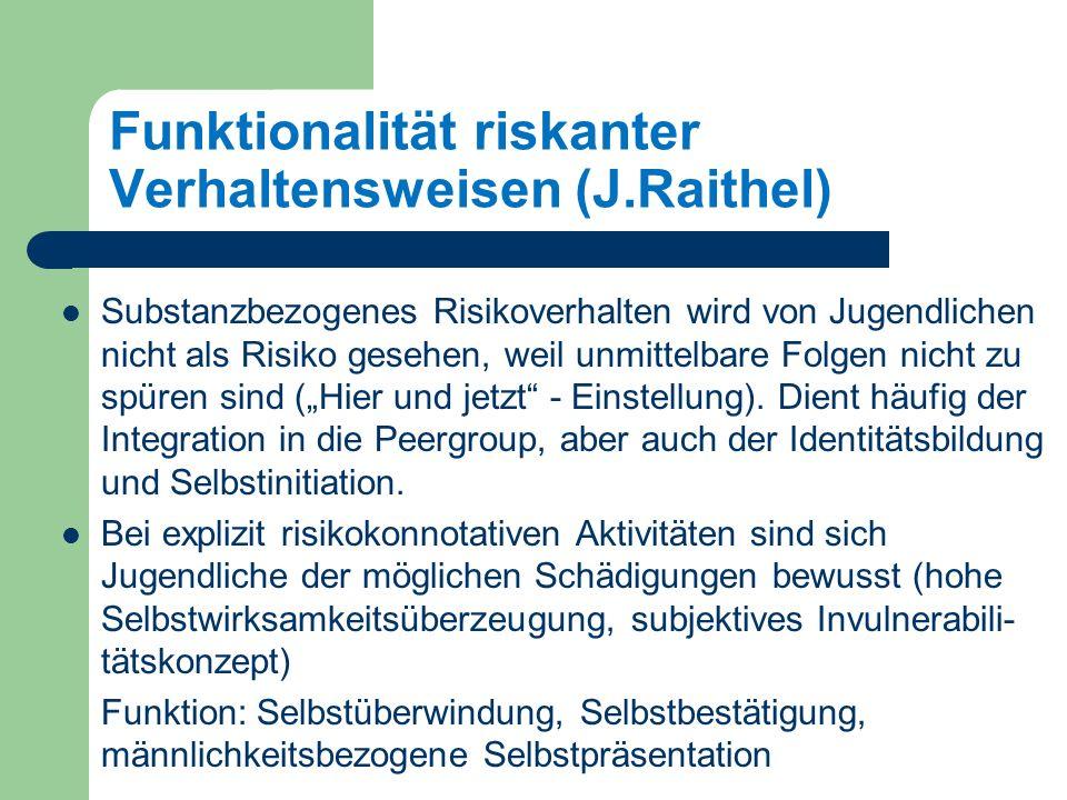 Funktionalität riskanter Verhaltensweisen (J.Raithel) Substanzbezogenes Risikoverhalten wird von Jugendlichen nicht als Risiko gesehen, weil unmittelbare Folgen nicht zu spüren sind (Hier und jetzt - Einstellung).