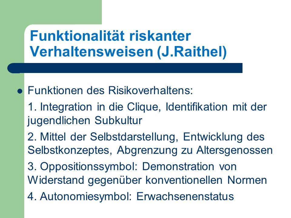 Funktionalität riskanter Verhaltensweisen (J.Raithel) Funktionen des Risikoverhaltens: 1.