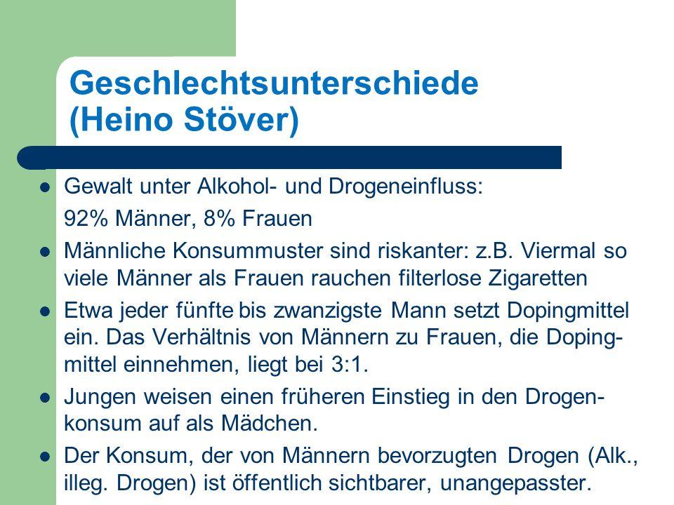 Geschlechtsunterschiede (Heino Stöver) Gewalt unter Alkohol- und Drogeneinfluss: 92% Männer, 8% Frauen Männliche Konsummuster sind riskanter: z.B.
